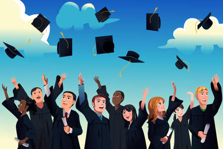 graduacion caricatura: Una ilustración vectorial de estudiantes celebran su graduación lanzando sus sombreros de graduación en el aire Vectores