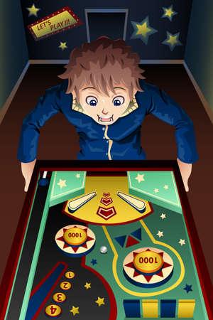 pinball: A vector illustration of man playing pinball machine in an arcade Illustration