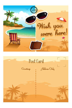 postcard: A vector illustration of travel postcard design Illustration