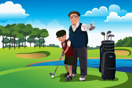 A vector illustration of grandfather teaching his grandson playing golf Ilustração