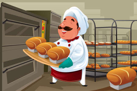 A vector illustration of happy baker holding breads in the kitchen Vectores