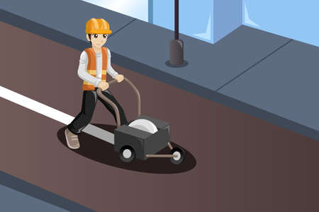 A vector illustration of road worker painting the road lines