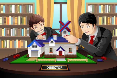 Vector father and son: Một minh họa vector của cha và con trai xây dựng một ngôi nhà gạch với nhau tại văn phòng Hình minh hoạ