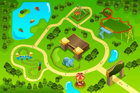Una ilustración vectorial de un mapa de un parque de diversiones
