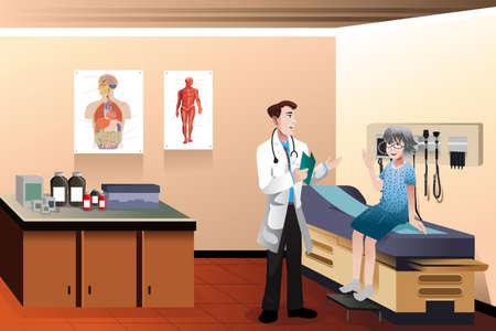 Una ilustración vectorial de doctor y paciente mayor en la clínica