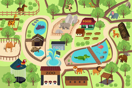 animals in the zoo: Una ilustraci�n vectorial de mapa de un parque zool�gico Vectores
