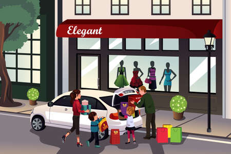 A vector illustration of family loading shopping stuff into the car Vector