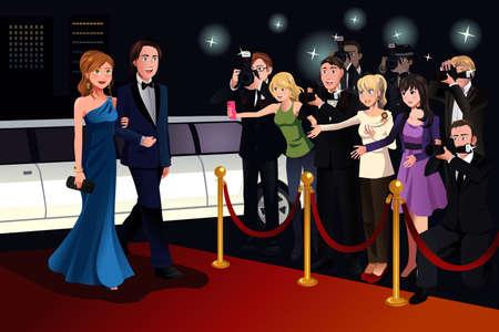 reportero: Una ilustración vectorial de pareja de moda ir a un evento de alfombra roja
