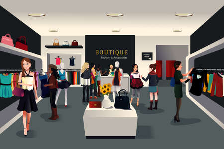 A vector illustration of view inside a trendy clothing store