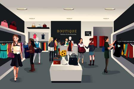 tienda de ropa: Una ilustración vectorial de vista dentro de una tienda de ropa de moda