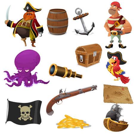 barco pirata: Una ilustración vectorial de piratas conjuntos de iconos Vectores