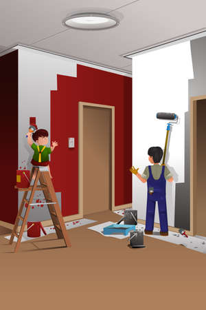 painting and decorating: A vector illustration of father and son painting a wall at home together
