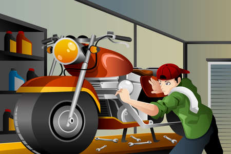 A vector illustration of man fixing a motorcycle in the garage