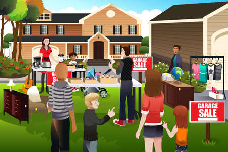 seller: A vector illustration of people having a garage sale