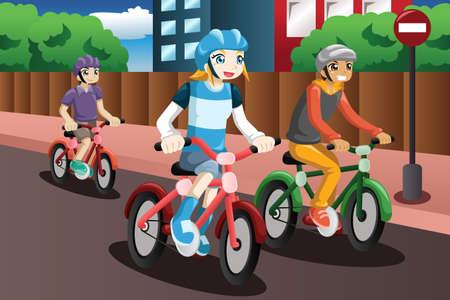 deportes caricatura: Una ilustraci�n vectorial de ni�os felices que montan en bicicleta juntos