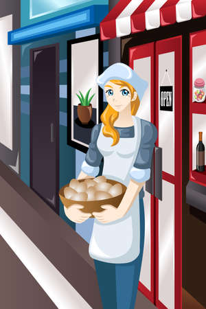 owner: A vector illustrator of female store owner standing in front of her store carrying a basket of eggs Illustration