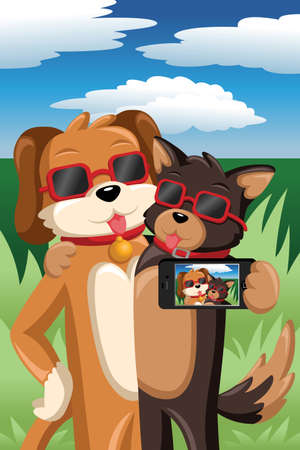 taking picture: A vector illustration of stylish dogs taking a selfie picture of themselves Illustration