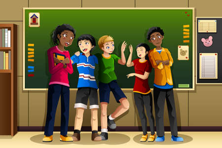 A vector illustration of multi-ethnic students in the classroom Иллюстрация