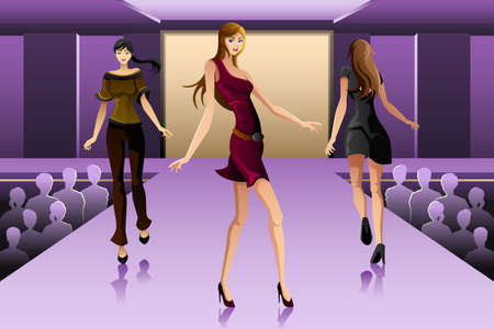A vector illustration of beautiful supermodels on a runway show