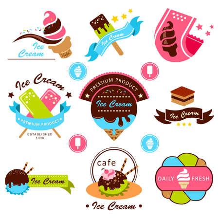 A vector illustration of ice cream label designs