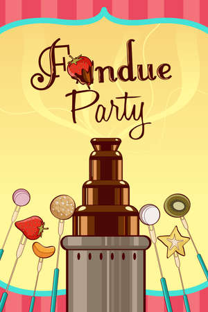 fondue: A vector illustration of fondue party invitation with copyspace