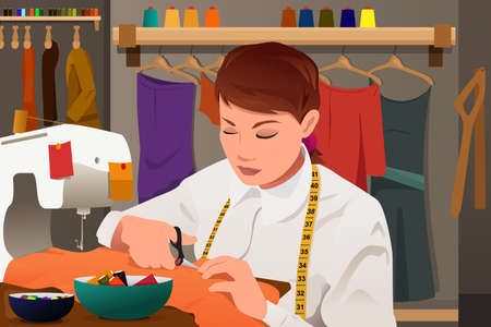 A vector illustration of tailor working with sewing machine Illustration