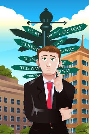 directions: Een vector illustratie van verwarde zakenman onder een straatnaambord met verschillende richtingen
