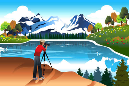 taking picture: A vector illustration of photographer taking picture of a beautiful nature