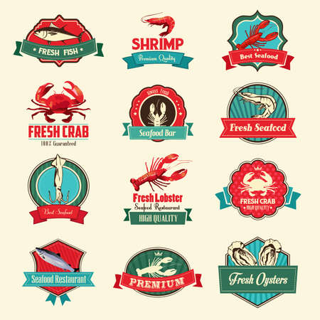 A vector illustration of seafood label sets