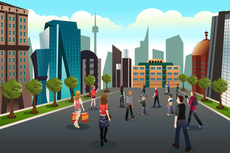 high rise buildings: A vector illustration of people walking outside toward high rise buildings