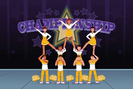 cheerleading: A vector illustration of cheerleaders in a cheerleading competition