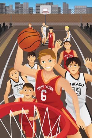 slam dunk: A vector illustration of young men playing basketball in the inner city