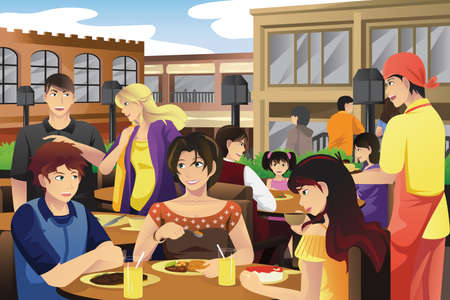 A vector illustration of people eating in an outdoor restaurant