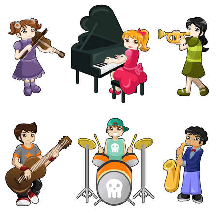A vector illustration of different kids playing musical instrument