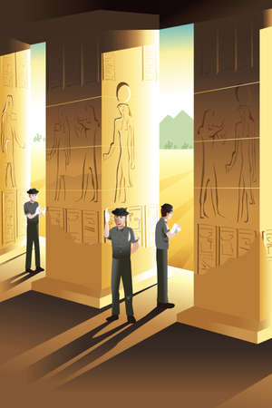 A vector illustration of Archaeologist working at an ancient place Vectores