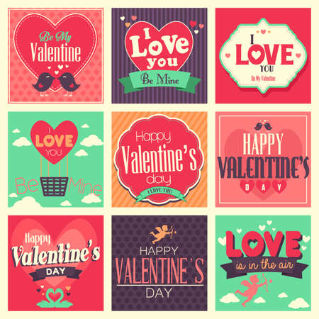 A vector illustration of  Valentines day cards with ornament Çizim