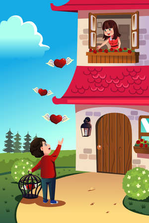 バレンタインの日の概念のための彼のガール フレンドに愛を送る男のベクトル イラスト  イラスト・ベクター素材