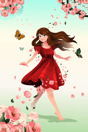 flower clip art: A vector illustration of beautiful girl with flowers