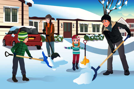 A vector illustration of family shoveling snow in front of their house 矢量图像