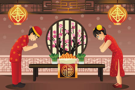 A vector illustration of Chinese kids celebrating Chinese New Years