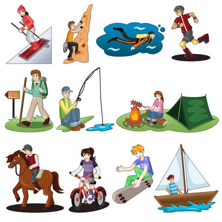 A vector illustration of active people doing outdoor activities