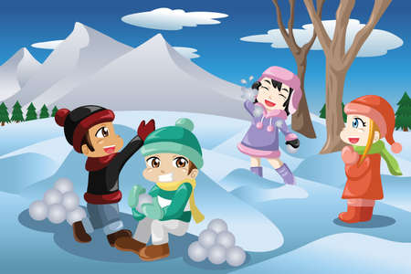 snowballs: Una illustrazione vettoriale di bambini felici che giocano a palle di neve all'aperto Vettoriali