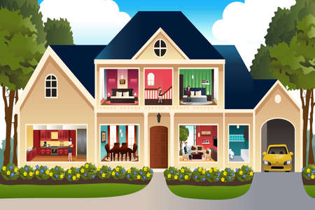 Illustration of family at home Vector