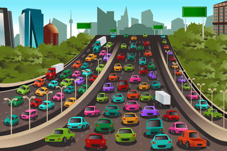 crowded: Illustration of Traffic on a highway
