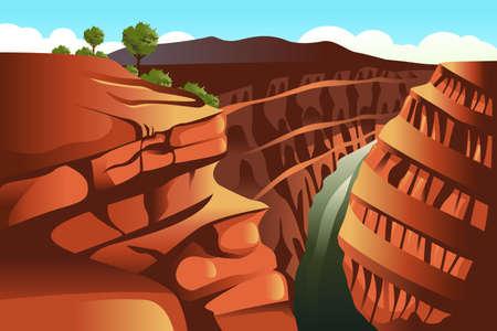 montagna: Illustrazione di Grand Canyon sfondo Vettoriali