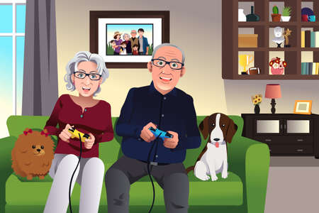 Illustration of elderly couple playing games at home