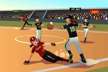 softball: Illustration of women playing softball