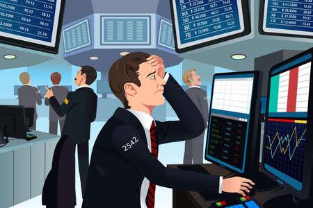 Illustratie van de voorraad handelaar in spanning te kijken naar de computer