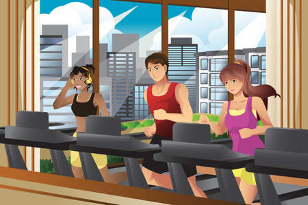 sport cartoon: Illustration of  people running on treadmills in a gym