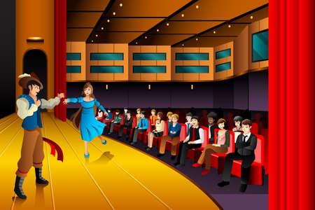 Illustratie van mensen uitvoeren op een podium Vector Illustratie